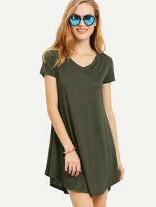 Olive Green V Neck Swing Tee Dress