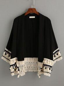 Kimono flecos casual -negro