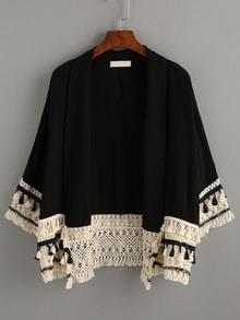 Black Tassel Trimmed Kimono