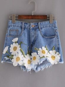 Frayed Embroidered Flower Applique Blue Denim Shorts
