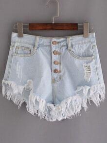 Buttoned Fly Frayed Light Blue Denim Shorts