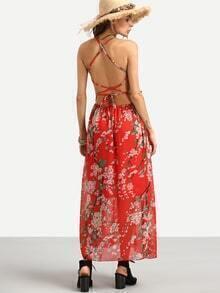 Robe en mousseline motif fleuri croisé au dos - rouge