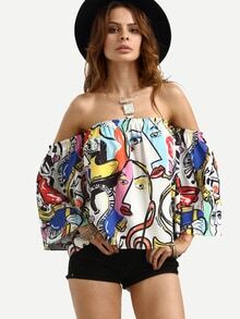 Off The Shoulder Graffiti Print Crop Top