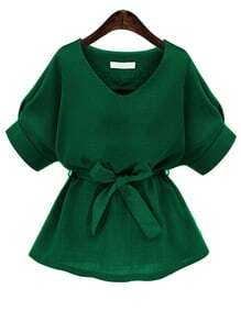 Green V Neck Self Tie Blouse