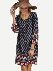 Vestido cordón vintage túnico -marino