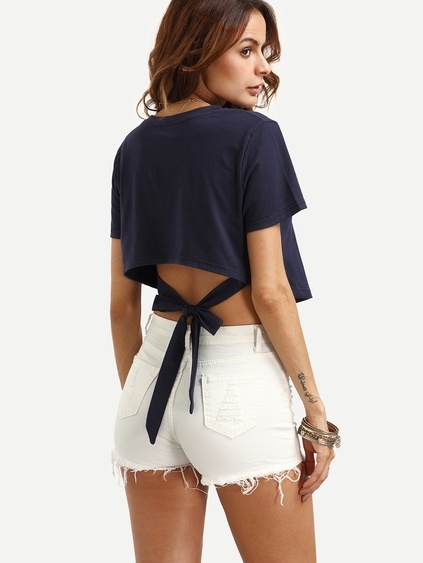 Navy Self Tie High Low Crop T-shirt