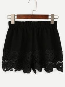 Black Eyelash Lace Trimmed Elastic Waist Shorts