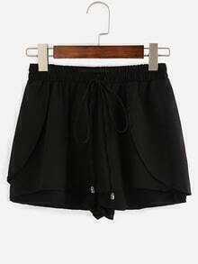 Black Drawstring Waist Wrap Shorts