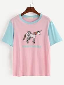 T-shirt bicolore imprimé cartoon - bleu rose