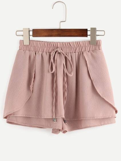 Pink Drawstring Waist Wrap Shorts