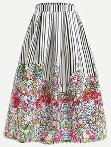 Multicolor Flower Print Box Pleated Skirt