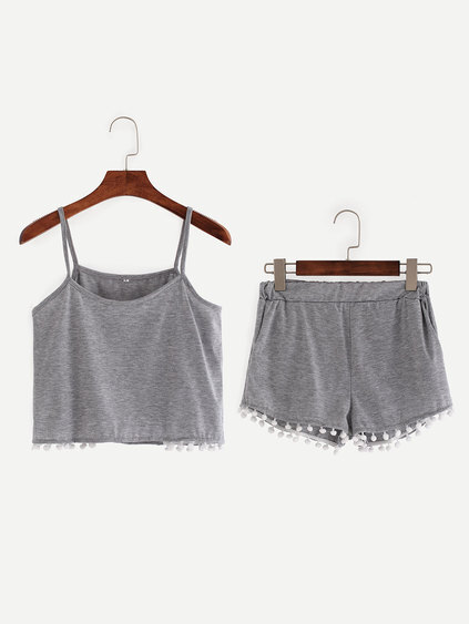 Grey Pom Pom Crop Cami Top With Shorts