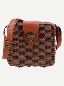 Brown Push Lock Structured Straw Bag