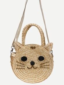 Beige Cat Shaped Straw Bag
