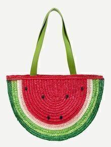 Multicolor Watermelon Straw Shopper Bag