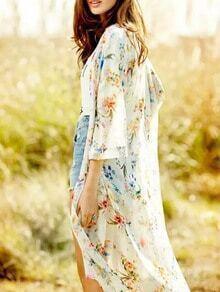 Beige Floral Print Kimono