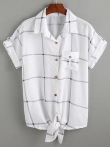 Blusa anudada manga enrollada -blanco