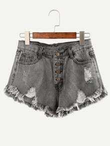 Grey Buttoned Fly Frayed Denim Shorts