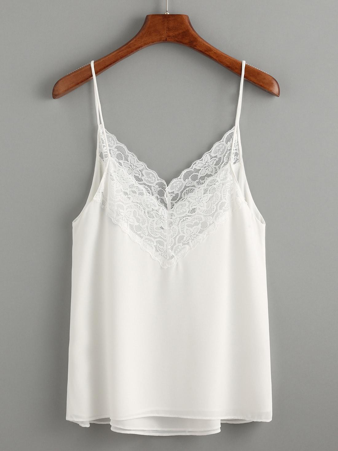 White Lace Trim Chiffon Cami Top