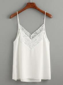 White Lace Trim Chiffon Cami Top