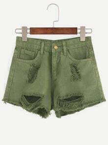 Olive Green Ripped Raw Hem Denim Shorts