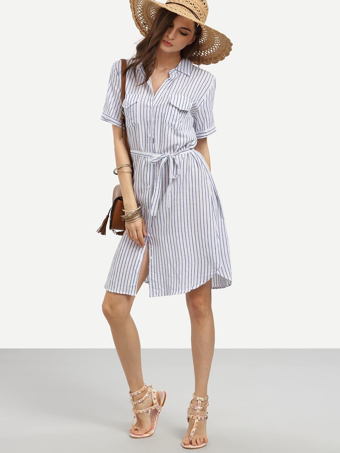 Blue vertical striped self tie shirt dress with pocketsfor for Vertical striped dress shirt