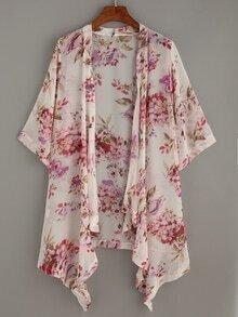 White Flower Print Asymmetric Chiffon Kimono