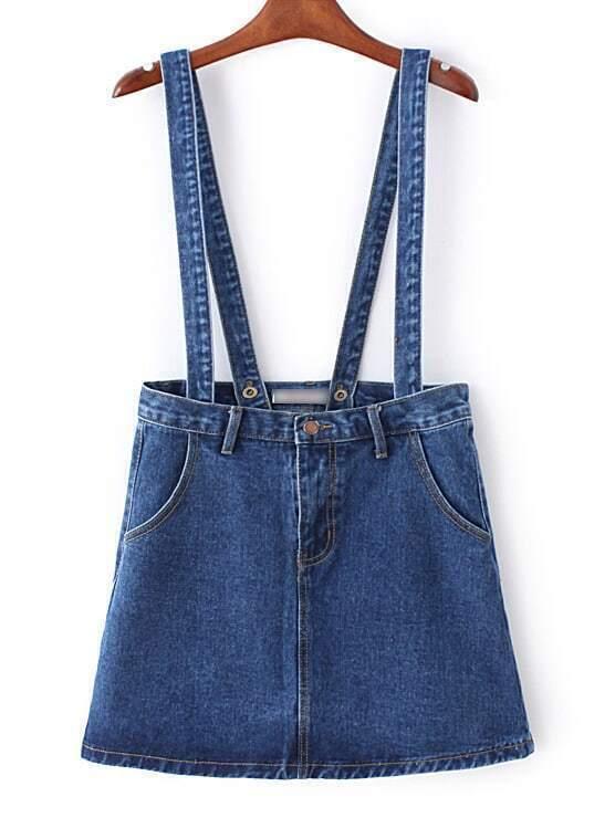 blue zipper overall denim skirt