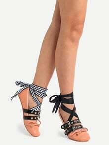 Almond Toe Bow Decorated Lace-up Flats