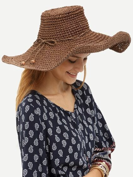 Coffee Bow Collapsible Large Brimmed Straw Hat