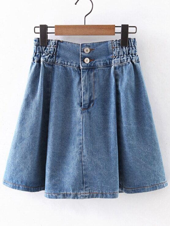 blue elastic high waist zipper denim skirt