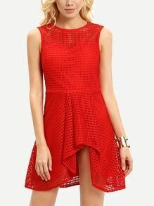 Red Sleeveless Plaid Cut Out Skater Dress