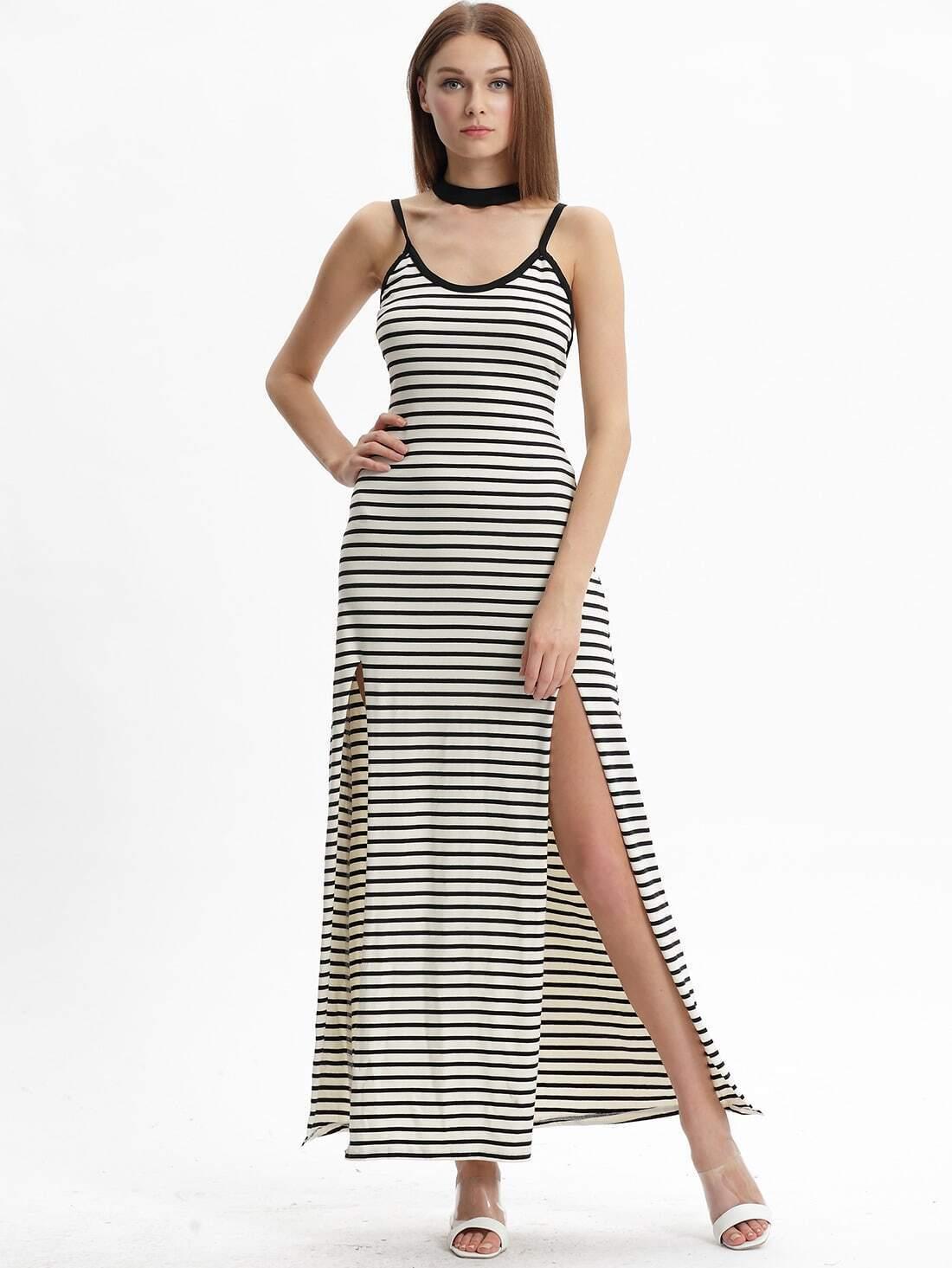 Black White Stripe Split Spaghetti Strap Dress Maxi Dress