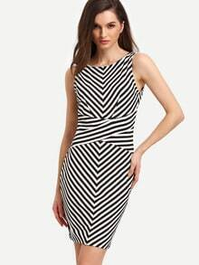 White Black Sleeveless Striped Backless Bodycon Dress