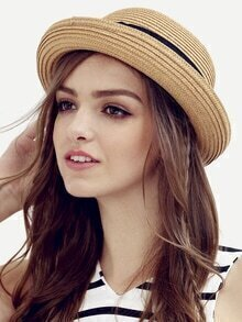 Coffee Bow Decorated Dome Straw Hat