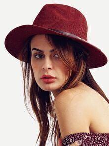 Burgundy Large Brimmed Straw Hat