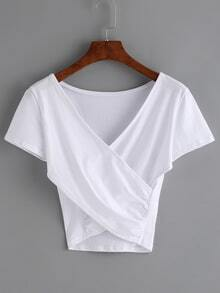 V-Neck Cross Wrap Crop T-shirt - White