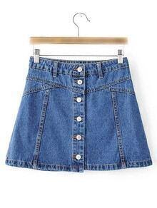 Blue Single Breasted Casual Denim Skirt