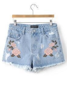 Light Blue Flower Embroidery Raw-edged Cut Pockets Shorts