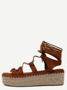 Brown Open Toe Lace-up Espadrille Wedges