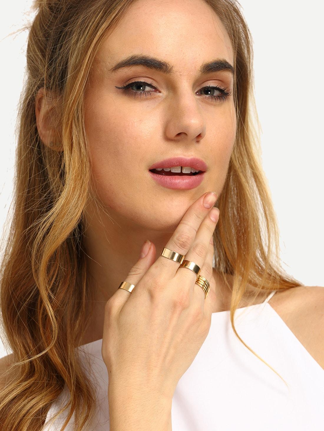 Золотой гладкий металлическое кольцо набор - 9 шт