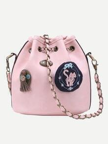 Pink Drawstring Chain Bucket Bag With Vintage Charm