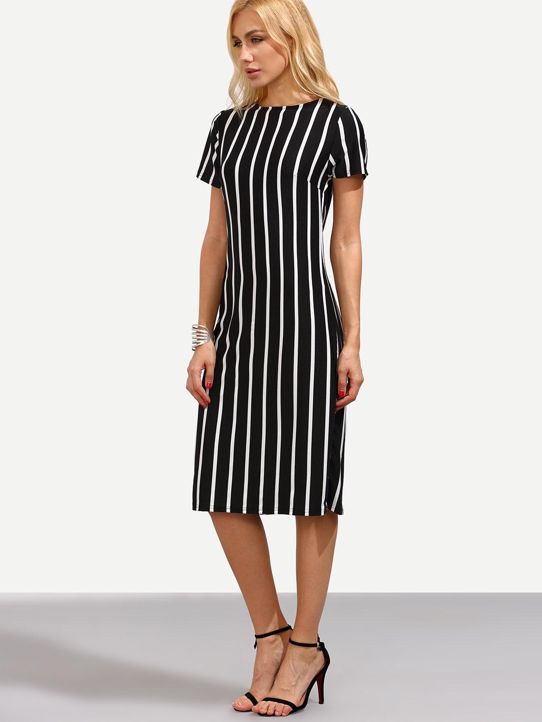 Fashion Dresses Style: Black Vertical Striped Sheath DressFor Women-romwe
