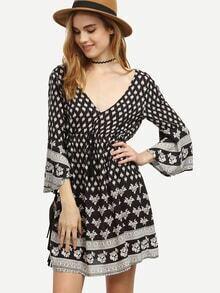 Black Pattern Print Double V Neck Dress