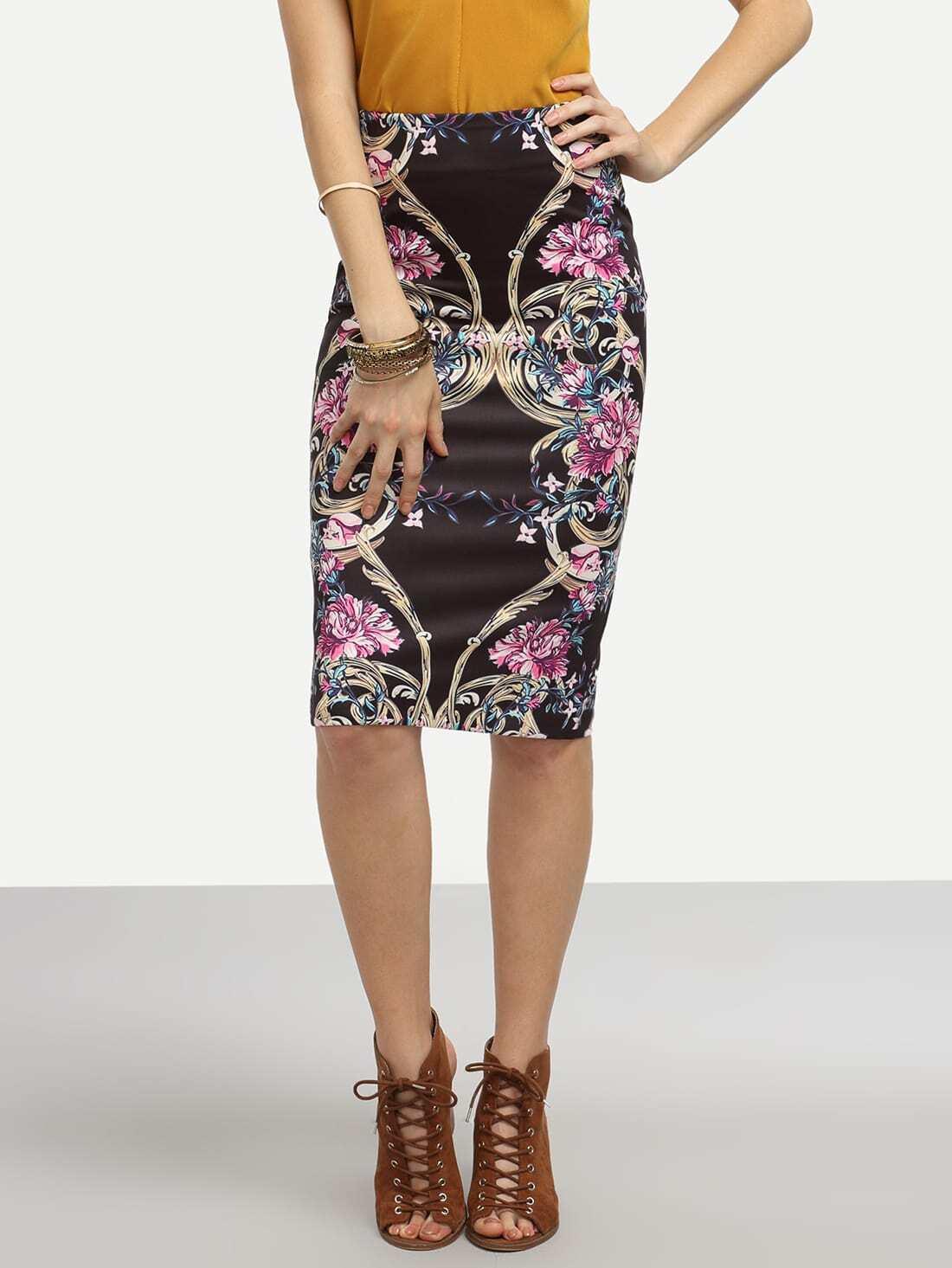black flower print pencil skirt