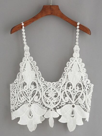 White Hollow Out Crop Crochet Cami Top