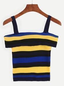 Multicolor Striped Cold Shoulder Ribbed Top
