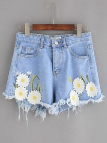 Blue Daisy Embroidered Raw Hem Denim Shorts