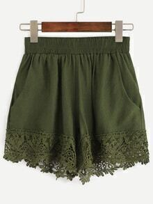 Olive Green Lace Trimmed Elastic Waist Shorts