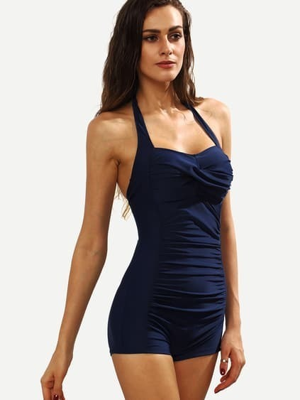 Navy Halter Neck Ruched One-Piece Swimwear